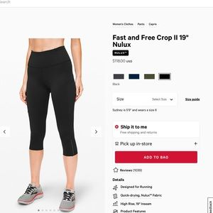 "Fast and Free Crop 19"" LuluLemon 8"